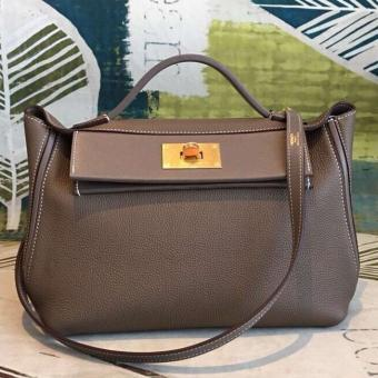 High End Faux Hermes 24/24 29 Bag In Taupe Clemence Calfskin