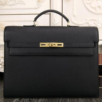 1:1 Hermes Black Kelly Depeche 38cm Briefcase Bag