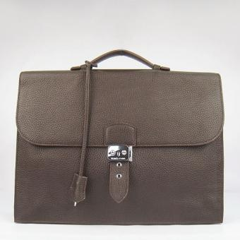 Luxury Replica Hermes Chocolate Sac A Depeches 38cm Briefcase Bag