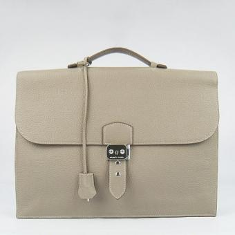 Hermes Grey Sac A Depeches 38cm Briefcase Bag