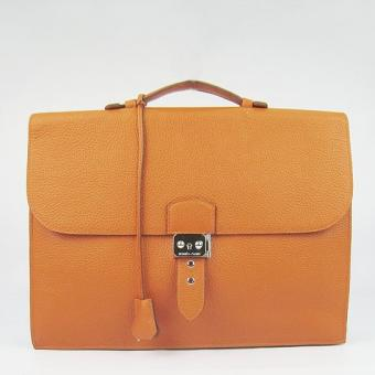 Hermes Orange Sac A Depeches 38cm Briefcase Bag Replica