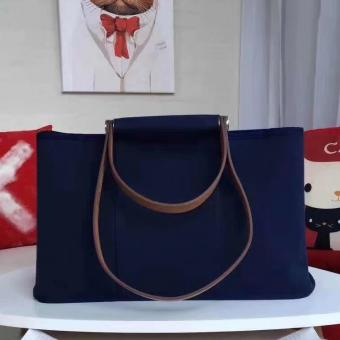 Hermes Cabag Elan Bag In Dark Blue Canvas