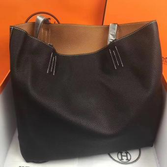Knockoff Hermes Double Sens 45cm Tote In Black/Brown Leather