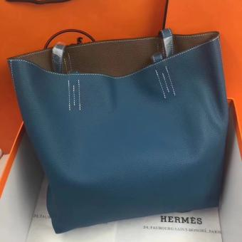Replica High End Hermes Double Sens 45cm Tote In Blue/Etoupe Leather