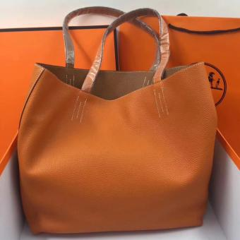 Hermes Double Sens 45cm Tote In Orange/Brown Leather