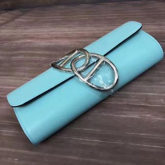 Hermes Handmade Egee Clutch In Atoll Blue Swift Leather Replica