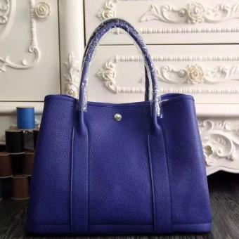 Hermes Medium Garden Party 36cm Tote In Electric Blue Leather