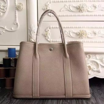 Luxury Hermes Medium Garden Party 36cm Tote In Grey Leather