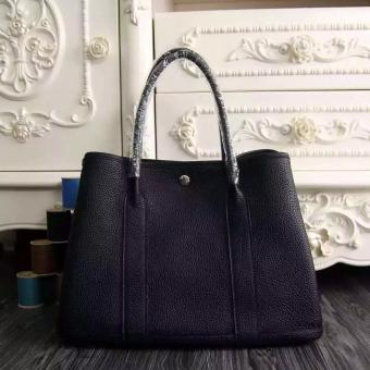 Faux Hermes Small Garden Party 30cm Tote In Black Leather