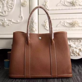 Imitation Hermes Small Garden Party 30cm Tote In Brown Leather
