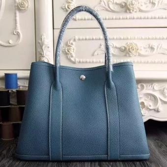 Faux 1:1 Hermes Small Garden Party 30cm Tote In Jean Blue Leather