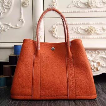 AAA Hermes Small Garden Party 30cm Tote In Orange Leather