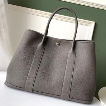 Luxury Replica Hermes Grey Fjord Garden Party 30cm With Printed Lining