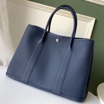 Imitation 1:1 Hermes Navy Fjord Garden Party 30cm With Printed Lining