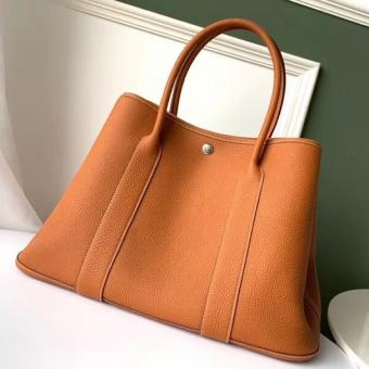 Luxury Hermes Tan Fjord Garden Party 30cm With Printed Lining