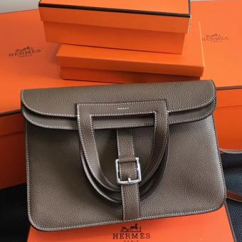 Replica Hermes Halzan Bag In Etoupe Clemence Leather
