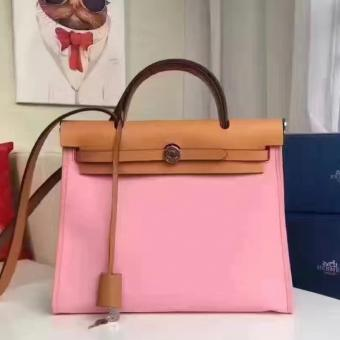 Best Cheap Hermes Herbag Zip PM 31cm Bag In Pink Canvas
