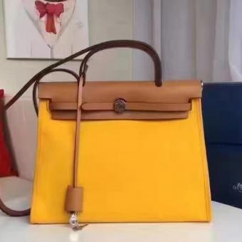Imitation Hermes Herbag Zip PM 31cm Bag In Yellow Canvas