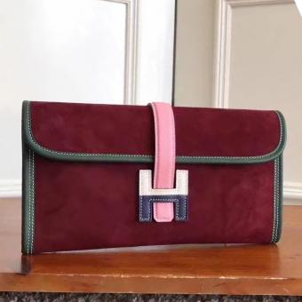 Fake High End Hermes Bordeaux Suede Jige Elan 29 Clutch Bag