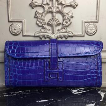 Luxury Hermes Jige Elan 29 Clutch In Blue Electric Crocodile Leather