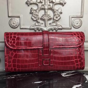 Hermes Jige Elan 29 Clutch In Dark Red Crocodile Leather