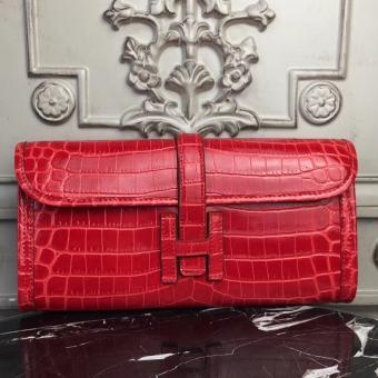 Hermes Jige Elan 29 Clutch In Red Crocodile Leather