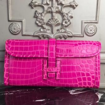 Hermes Jige Elan 29 Clutch In Rose Red Crocodile Leather