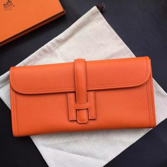 Hermes Orange Epsom Jige Elan 29 Clutch