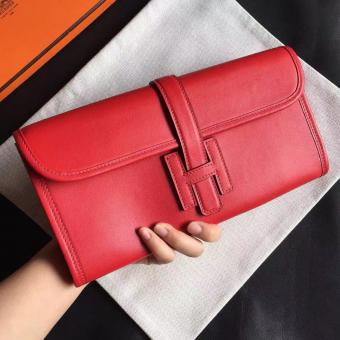 AAA Hermes Red Swift Jige Elan 29 Clutch