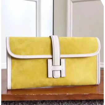 Hermes Yellow Suede Jige Elan 29 Clutch Bag