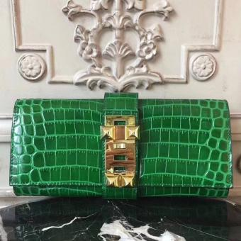 Hermes Medor Clutch Bag In Bamboo Crocodile Leather