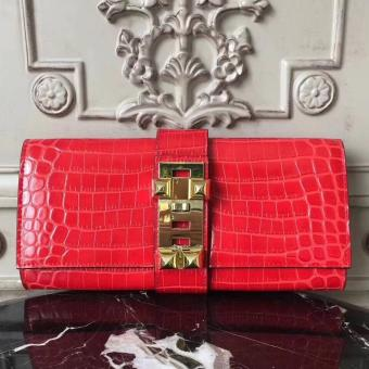 Copy Hermes Medor Clutch Bag In Cherry Crocodile Leather