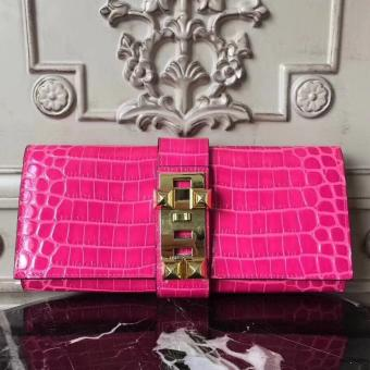 Hermes Medor Clutch Bag In Rose Red Crocodile Leather Replica
