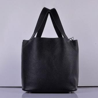 Replica Hermes Picotin Lock Bag In Black Leather
