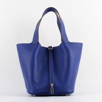 Hot Faux Hermes Picotin Lock Bag In Electric Blue Leather