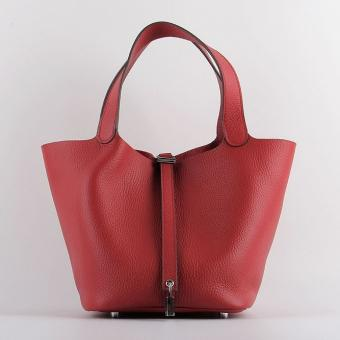 Hot Fake Hermes Picotin Lock Bag In Red Leather