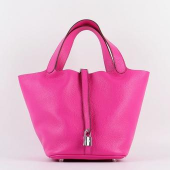 Imitation Hermes Picotin Lock Bag In Rose Red Leather
