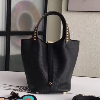 AAA Knockoff Hermes Black Picotin Lock 18cm Bag With Braided Handles