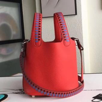 Discount Hermes Red Picotin Lock 18cm Bag With Braided Handles