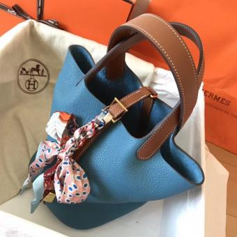 Hermes Bicolor Picotin Lock MM 22cm Blue Jean Bag
