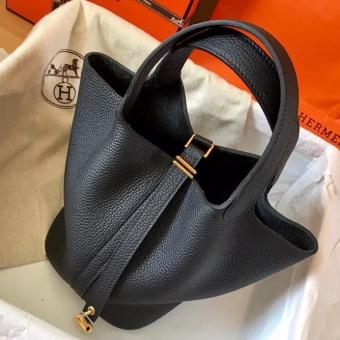 Faux Hermes Black Picotin Lock MM 22cm Handmade Bag