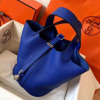 Faux Hermes Blue Electric Picotin Lock MM 22cm Handmade Bag