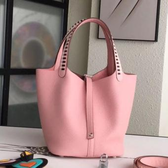 Fake Hermes Pink Picotin Lock 22cm Braided Handles Bag