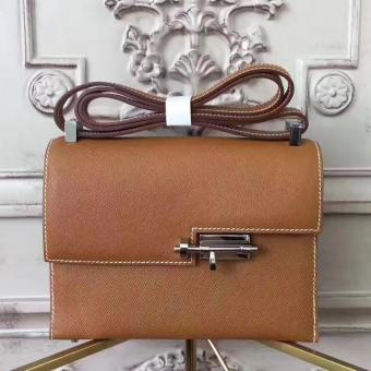 Hermes Brown Epsom Verrou Shoulder Handmade Bag Replica