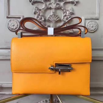 Hermes Yellow Goatskin Verrou Shoulder Handmade Bag