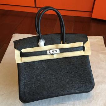 Cheap Knockoff Hermes Black Clemence Birkin 25cm Handmade Bag