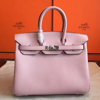Hermes Rose Dragee Swift Birkin 25cm Handmade Bag