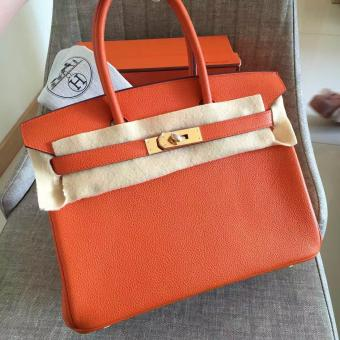 Hermes Orange Clemence Birkin 30cm Handmade Bag