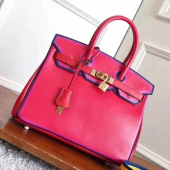 1:1 Fake Hermes Red With Indigo Piping Goatskin Birkin 30cm Bag