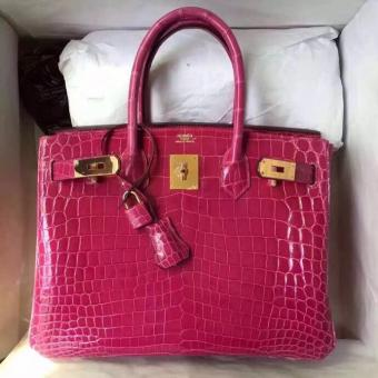 1:1 Replica Hermes Rose Red Birkin 30cm Crocodile Niloticus Shiny Bag